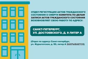 С 28 июня 2021 года Отдел регистрации актов гражданского состояния о смерти возобновит прием граждан в историческом здании на ул. Достоевского, д. 9 рисунок
